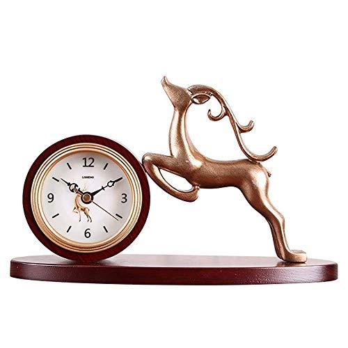 Relojes De Sobremesa, Reloj De Chimenea con Decoración De Ciervos, Hecho De Madera Maciza, Reloj De Escritorio Retro, Diseño Silencioso, Reloj De Manto, Reloj Clásico con Pilas, para Decoración De S
