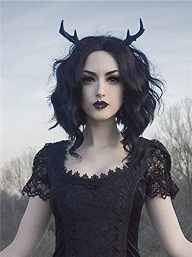 PINKSHOW Jet Black Bob Synthetic Curly Wig Big Side Part HD Lace Front Wigs for Women Realistic Hair Wig Shoulder Length 14 Inch Pre-plucked Natural Hairline Daily Wear Wig