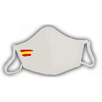 Mascarilla protectora blanca homologada bandera de España 3 capas: Amazon.es: Salud y cuidado personal