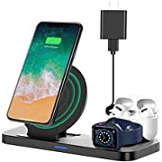 Upgraded Wireless Charging Dock, Earteana 3-in-1 Qi-Certified Charging Station for Apple Watch SE/6/5/4/3/2/1 & AirPods, Wireless Charger for iPhone 12/11 Pro/11 Pro Max/XS Max/X