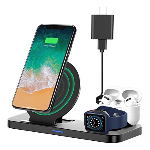 2020 Upgraded Wireless Charging Dock, Earteana 3-in-1 Charging Station for Apple Watch SE/6/5/4/3/2/1 & AirPods, Wireless Charger for iPhone 11/11pro/11pro Max/X/XS/XR/XS Max/8/8 Plus