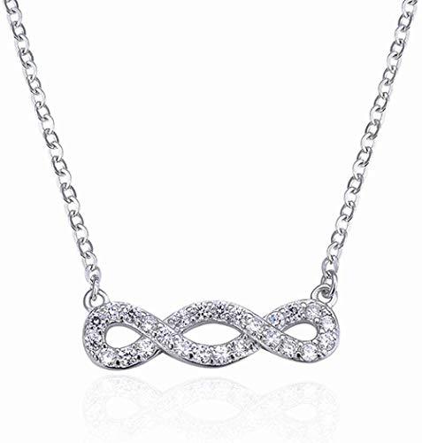 MNMXW 100% Plata de Ley 925 Infinito Mujeres Collares Pendientes Gargantilla número de la Suerte Ocho Collares geométricos para Regalo de Mujer