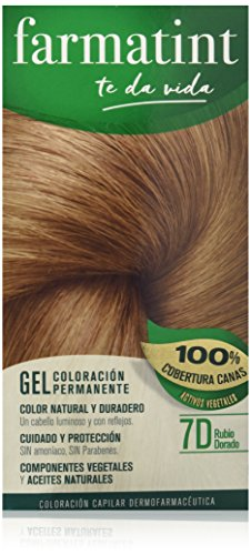 Farmatint Gel 7D Rubio Dorado | Color natural y duradero | Componentes vegetales y aceites naturales | Sin amoníaco | Sin Parabenos | Dermatológicamente testado