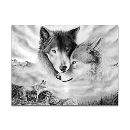Cuadro en lienzo de lobo, cuadro de impresión de arte de pared de lobo, sin marco, blanco y negro, decoración de arte moderno para sala de estar, dormitorio, oficina (50 x 70 cm)
