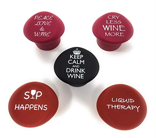 5 Wine Stoppers - Funny Silicone Reusable Corks Best Wine Gifts Add Your Own Personalized Touch on Bottles Top Perfectly Fits to Seal and Preserve Your Favorite Wine Cap Wedding Favor (more funny)
