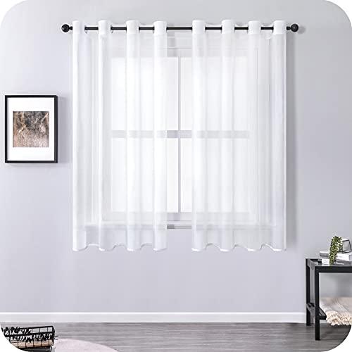 MRTREES Voile Gardinen Vorhang kurz halbtransparent kurz Schlaufenschals 2er Set Weiß 145cm×140cm (H×B) Vorhänge mit Ösen Modern Stores Schals für Kinderzimmer Wohnzimmer Schlafzimmer