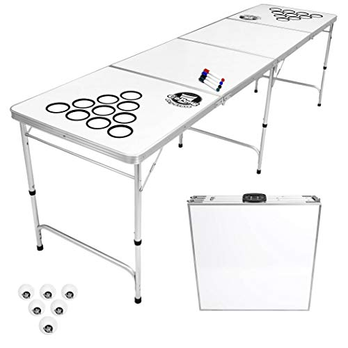 GoPong 8 Foot Beer Pong Table with Customizable Dry Erase Surface, White (GP-8-DryErase)