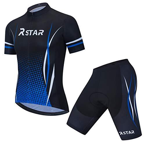 Herren Radtrikot Set Kurzarm Jersey Shorts mit Gel gepolstert für Reiten Rennradkleidung Schnelltrocknend (L)