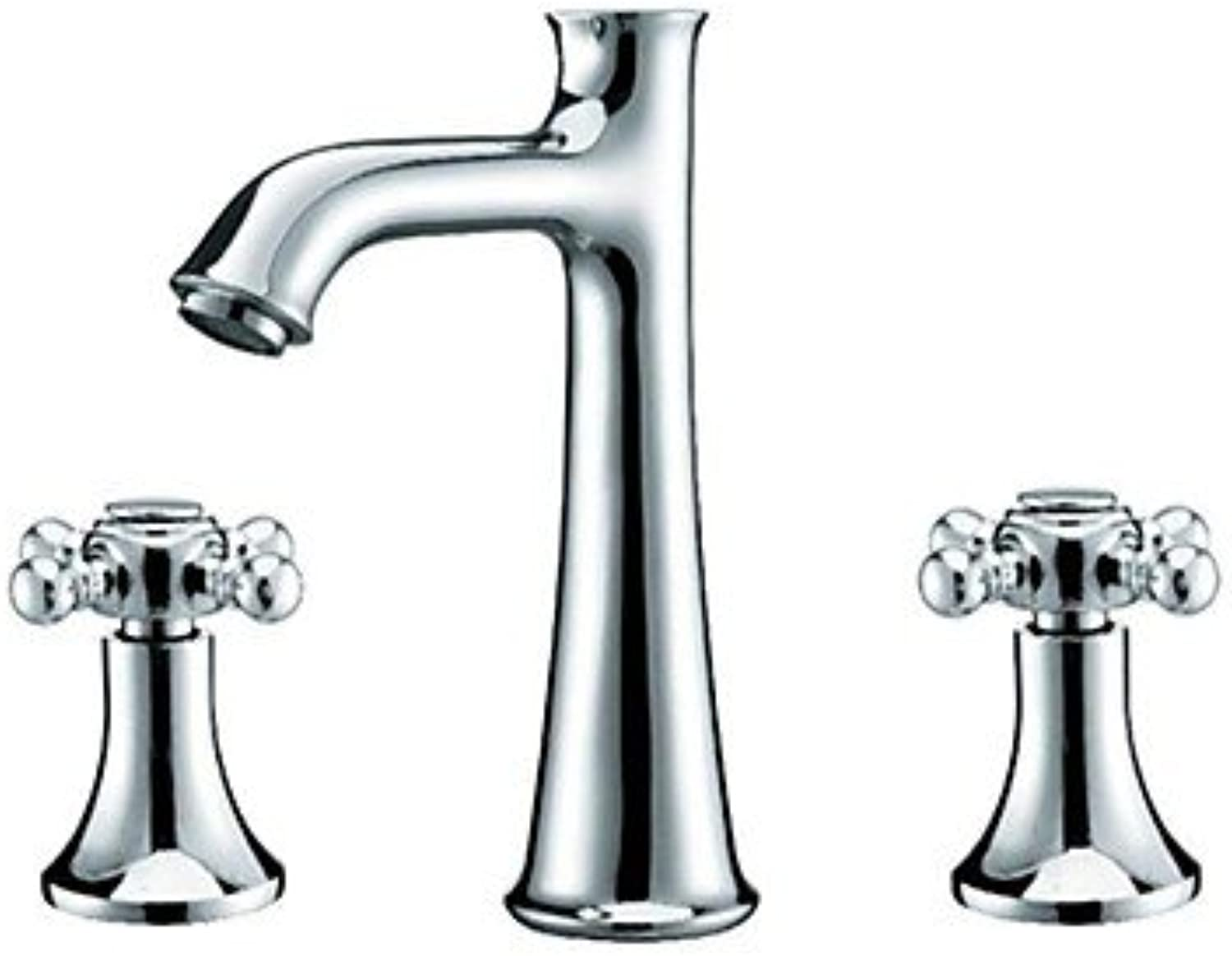 HMer Contemporary Chrome Finish Three Hole Two Handle Brass Sink tap