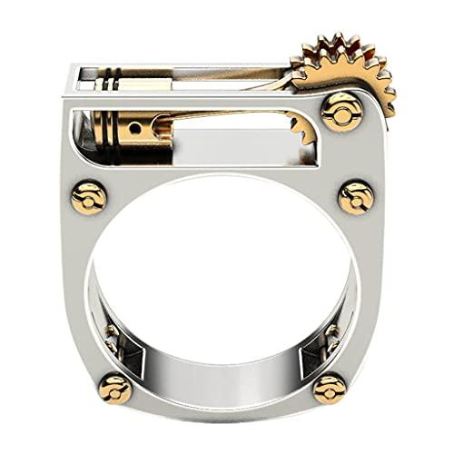 bibididi Fashion Mechanical Gear Wheel Ring Personalidad Hombre Mujer Anillos de Dedo Punk, Anillos de Pulgar de Moda, 9