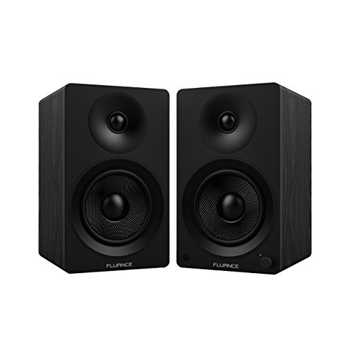 "Fluance Ai40 Powered Two-Way 5"" 2.0 Bookshelf Speakers with 70W Class D Amplifier for Turntable, PC, HDTV & Bluetooth aptX Wireless Music Streaming (Black Ash)"
