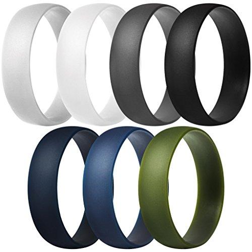 ThunderFit Silicone Rings, 7 Pack Wedding Bands for Men & Women (Dark Grey, Light Grey, White, Black, Dark Teal, Dark Blue, Dark Olive Green, 10.5 - 11 (20.6mm))