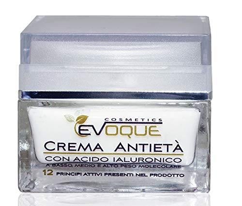 Crema Facial Antiarrugas Mujer con Ácido Hialurónico Puro. Antiarrugas e Hidratante Rica en Ingredientes Activos Vegano Evoque Cosmetics Italy