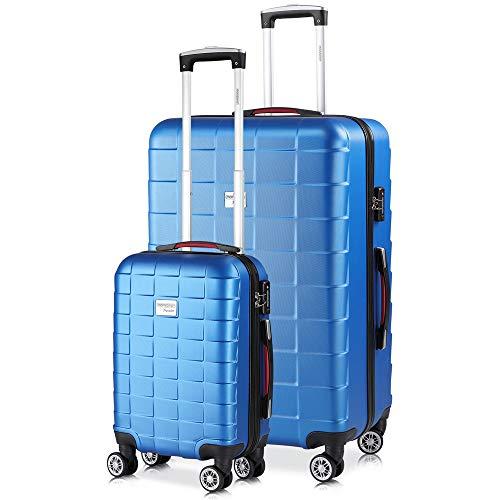 Monzana Juego de 2 Maletas rigidas Exopack con Ruedas giratorias de Carcasa Dura Talla M y XL Azul Equipaje de Viaje