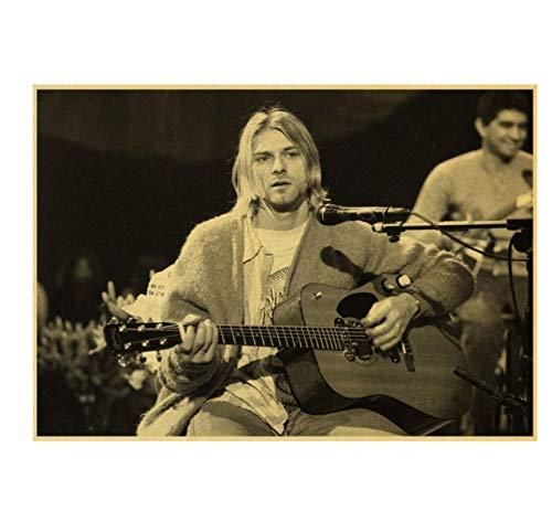 Hanyyj Póster Nirvana Singer Rock Pintura Estrella Cartel Retro Bar Café Decoración Pintura Pared Pegatina Decoración para Sala De Estar 40X60Cm Sin Marco