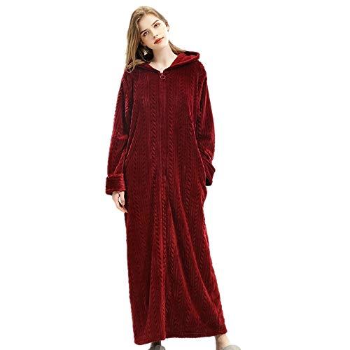 DUJUN Frauen Flanell Robe (M bis XL), Mikrofaser (100% Polyester) - Reißverschluss, Kapuze, 2 Taschen, Gürtel - Weicher, saugfähiger, bequemer BademantelBurgundXL