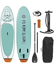 EASYmaxx - MAXXMEE Stand-Up-Board 'I Need Vitamin Sea' o 'MY Private Beach' | Incluye Bolsa de Transporte, Kit de reparación y Bomba de Aire, con práctica asa de Transporte