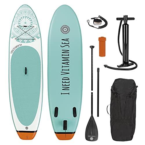 EASYmaxx - MAXXMEE Stand-Up-Board 'I Need Vitamin Sea' | Incluye Bolsa de Transporte, Kit de reparación y Bomba de Aire, con...