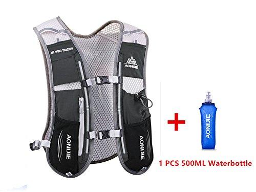 Chaleco mochila multifunción AONIJIE de 5l, ideal para deportes al aire libre, acampadas, ciclismo, carreras, alpinismo o senderismo, incluye 1 botella de agua de 500ml, negro