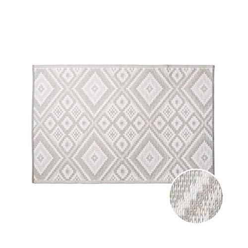 BUTLERS Colour Clash Teppich Outdoor Ethno 150x90 cm in Grau-Weiß - Flachgewebe Teppich für Innen- und Außenbereich