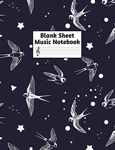 Blank Sheet Music Notebook: Easy Blank Staff Manuscript Book Large 8.5 X 11 Inches Musician Paper Wide 12 Staves Per Page for Piano, Flute, Violin, ... other Musical Instruments - Code : A4 7385