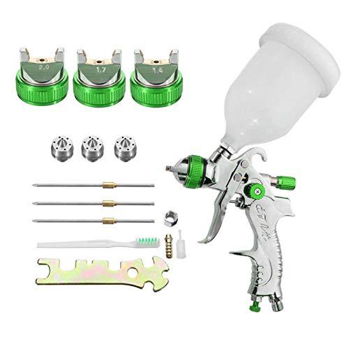 HVLP Lackierpistole Spritzpistole Kit mit 600CC Farbbehälter & 1,4 mm, 1,7 mm, 2,0 mm Düsensatz Farbspritzpistole für Dekoration,Auto Reparatur Werkzeug (Green)