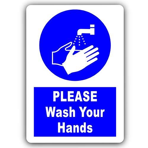 Señal con texto en inglés «Please Wash Your Hands Sign-Design 2-With IMAGE-Aluminio Metal Blanco-Puerta Aviso para la oficina, tienda, almacén, escuela, cafetería, restaurante, pub, negocios, hotel, locales de negocios, higiene sanitaria, baño o inodoro
