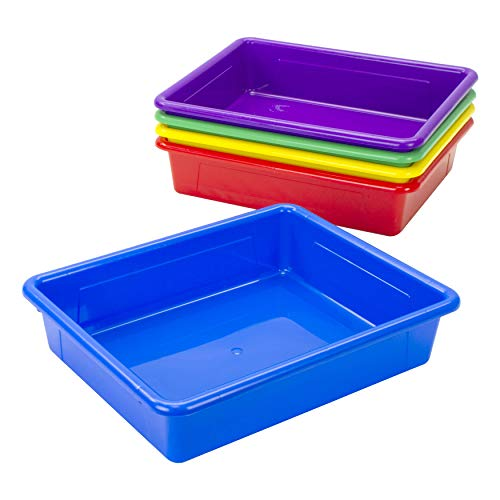 Storex Letter Size Flat Storage Tray – Organizer Bin for Classroom, Office and Home, Assorted Colors, 5-Pack (62514E05C)