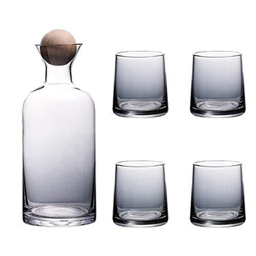 Suading Juego de vasos de whisky de lujo con tapa de bola de madera jarra transparente para jugo cóctel copas de vino Set - gris ahumado