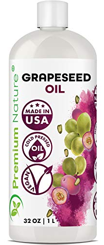 Grapeseed Oil Pure Carrier Oil - Cold Pressed Grape Seed Extract Carrier Oil for Essential Oils Mixing Natural Body Oil for Dry Skin Moisturizer Massage Lotion for Aromatherapy Nails and Hair Growth 32 oz