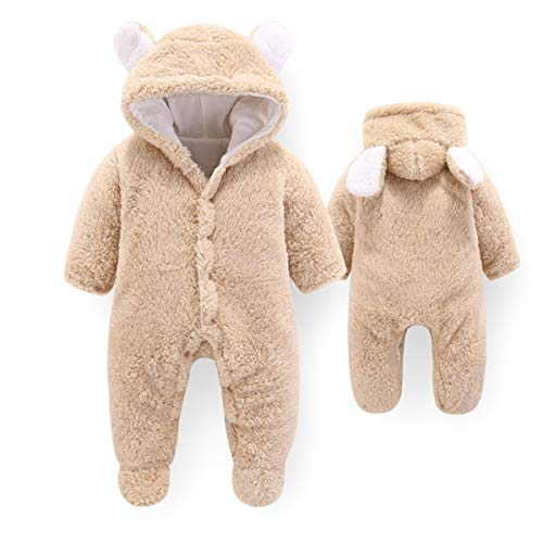 Tianhaik Baby Romper with Hood and Bear Warmer, Baby Winter Fleece Jumpsuit with Hood for Girls Boys Warm - - 6-9 Months