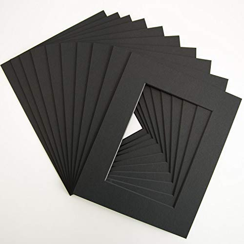 Pack of 10 Black Pre-Cut 8x10 mats for 5x7 Pictures by Verita Vision. Includes 10 Premium Acid-Free Black Core Bevel Cut 5x7 Matte for 8x10 Frame, Matte for 5x7 Photo (Black)
