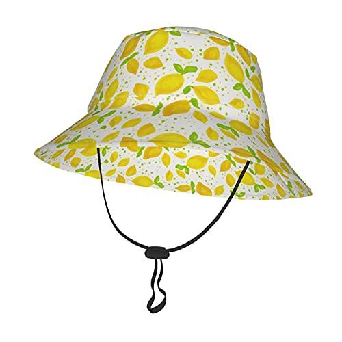 GAHAHA Sombrero de sol para bebés y niñas, limones para niños, pequeños, con correa ajustable para la barbilla, gorra de protección solar para el verano al aire libre