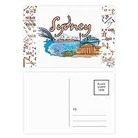 オーストラリアの都市シドニーオペラ水彩画 公式ポストカードセットサンクスカード郵送側20個