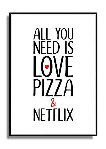 Kunstdruck Fine Art schwarz weiß rot Liebe Pizza & Netflix Poster Wandbild modern mit Herz
