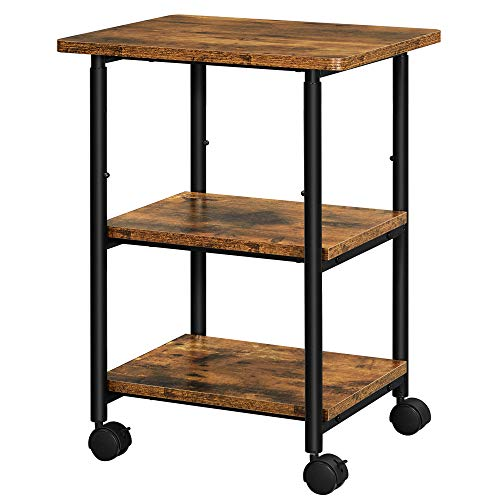 VASAGLE Industrial Printer Stand, 3-Tier Machine Cart with Wheels and Adjustable Table Top, Heavy Duty Storage Rack for Office and Home, Rustic Brown...