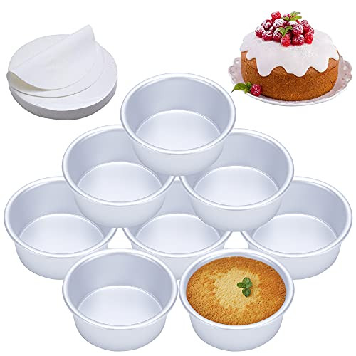 4 Inch Cake Pan, Set of 8, Anodized Aluminum Round Cake Pans with 100 Pcs Parchment Paper Tins Baking Pan for Cheese Cake, Pizza, Quiche, Non Toxic, Leakproof, Easy Release
