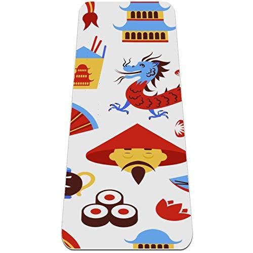 BestIdeas Esterilla de yoga con dragón chino para yoga, pilates, ejercicio de suelo para hombres, mujeres, niñas, niños, principiantes, diseño antideslizante