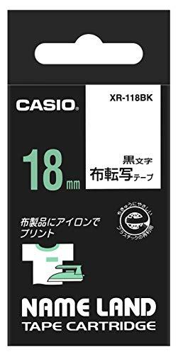 カシオラベルライターネームランド布転写テープ18mmXR-118BK黒文字