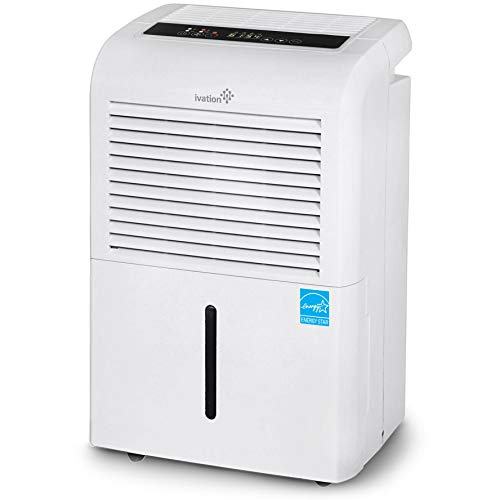Ivation 70 Pint Energy Star Dehumidifier with Pump, Large Capacity Compressor for Spaces Up To 4,500 Sq Ft, Includes Programmable Humidity, Hose Connector, Auto Shutoff and Restart and Washable Filt (Renewed)