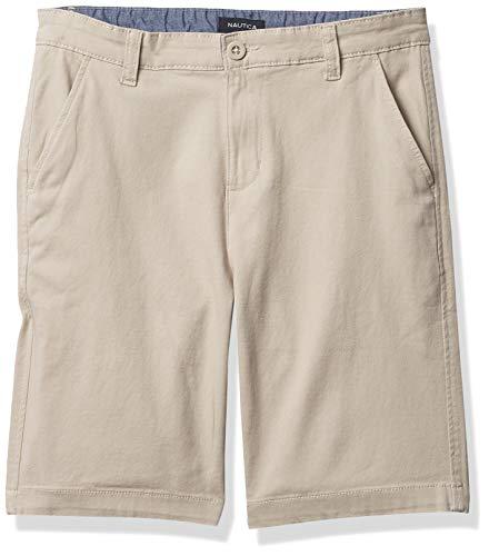 Nautica Boys' Stretch Twill Flat Front Shorts, Khaki, 14