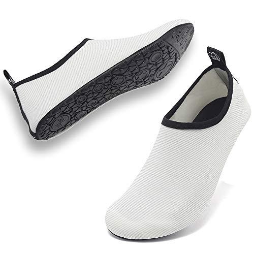 Deevike Wasserschuhe Strandschuhe Schwimmschuhe Barfussschuhe Yoga Aqua Schnell Trocken Socken für Damen Herren Mesh Weiß 36/37