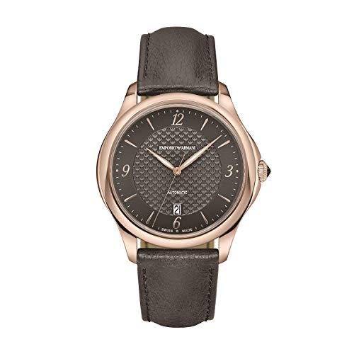 Emporio Armani - Reloj automático para Hombre con Caja de Acero Inoxidable en Tono Dorado Rosa y Correa de Piel Gris, ARS8653