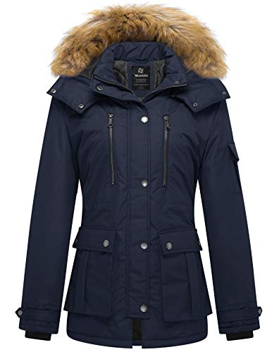 Wantdo Women's Winter Thickened Parka Coat with Removable Fur Hood X-Large Navy