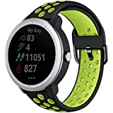 Abanen Watch Band Compatible with Vivoactive 3, 20mm Quick Release Holes Silicone Sport Waterproof Replacement Wristband Strap for Garmin Forerunner 245/645 Music,Vivomove/Vivomove HR (Black-Green)