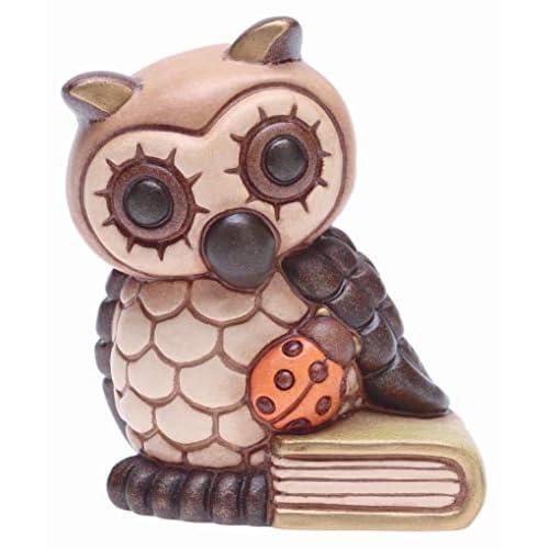 THUN ® - Gufo Piccolo con Libro e Coccinella - Ceramica - h 8 cm - Linea I Classici