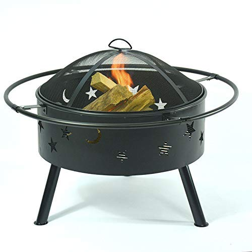 FMOGE Fire Pit with Grill Shelf,Barbecue Grill,Multi-Function Fire Pit Barbecue Brazier Circular Brazier Garden Square Table Heater Stove Patio,Outdoor Fire Pits