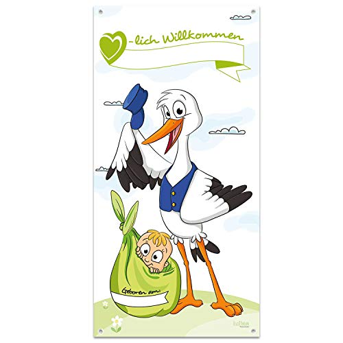 Großer Banner zur Geburt - Herzlich Willkommen Mama & Baby - ZUM SELBST BESCHRIFTEN: Name & Geburtsdatum - Storch mit Kind - 140 cm hoch