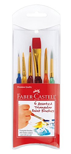 Faber-Castell Triangular Paint Brush Set - 6 Assorted Sizes - Paintbrushes for Kids