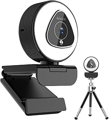 1080P HD Streaming Webcam with Ring Light and Dual Microphone, 2021 Aoboco USB Webcam with 5 Level Digital Zoom, Web Camera for Online Learning, Meeting, Gaming, Computer PC Mac Desktop